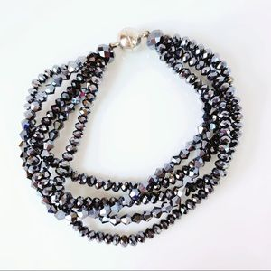 Jewelry - Black Crystal Beaded Magnetic Bracelet